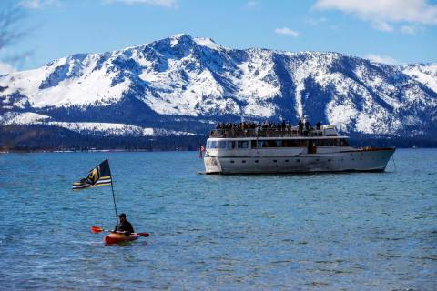 Fans watch the first period of an NHL hockey game between the Vegas Golden Knights and the Colo ...