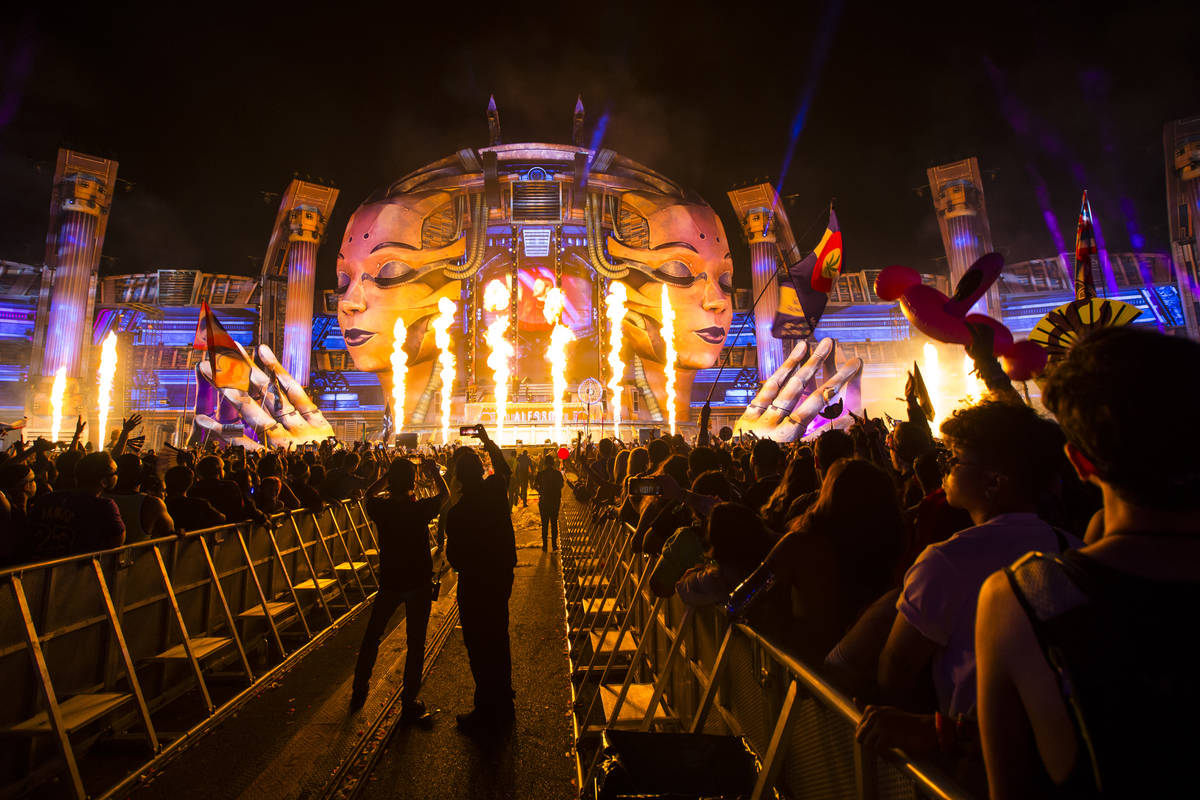 Pyrotechnics go off as Alesso performs at the Kinetic Field stage during the first day of the E ...