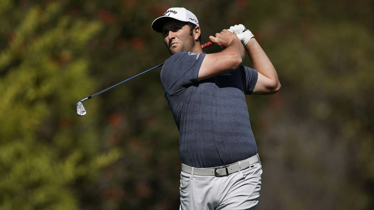 Jon Rahm tees off on the fourth hole during the second round of the Genesis Invitational golf t ...