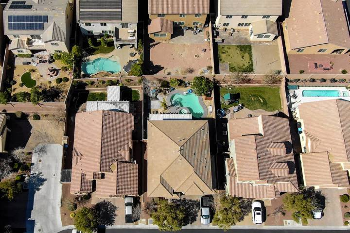 An aerial view of the Providence housing development near Knickerbocker Park in Las Vegas on Tu ...