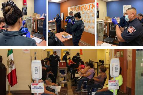 The Las Vegas Fire Department helps administer COVID-19 vaccines Tuesday, Feb. 23, 2021, at the ...
