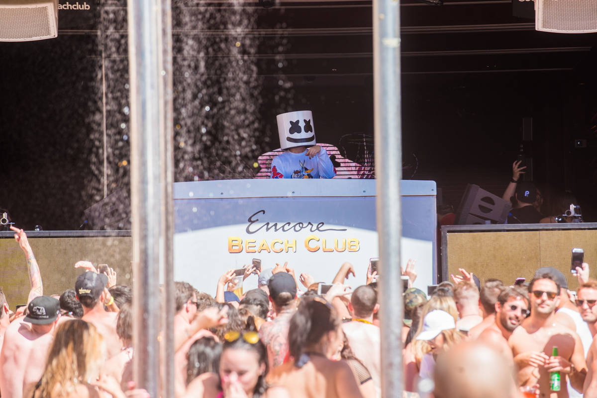 DJ Marshmello leads the dayclub party at Encore Beach Club on Sunday, May 14, 2017, in Las Vega ...