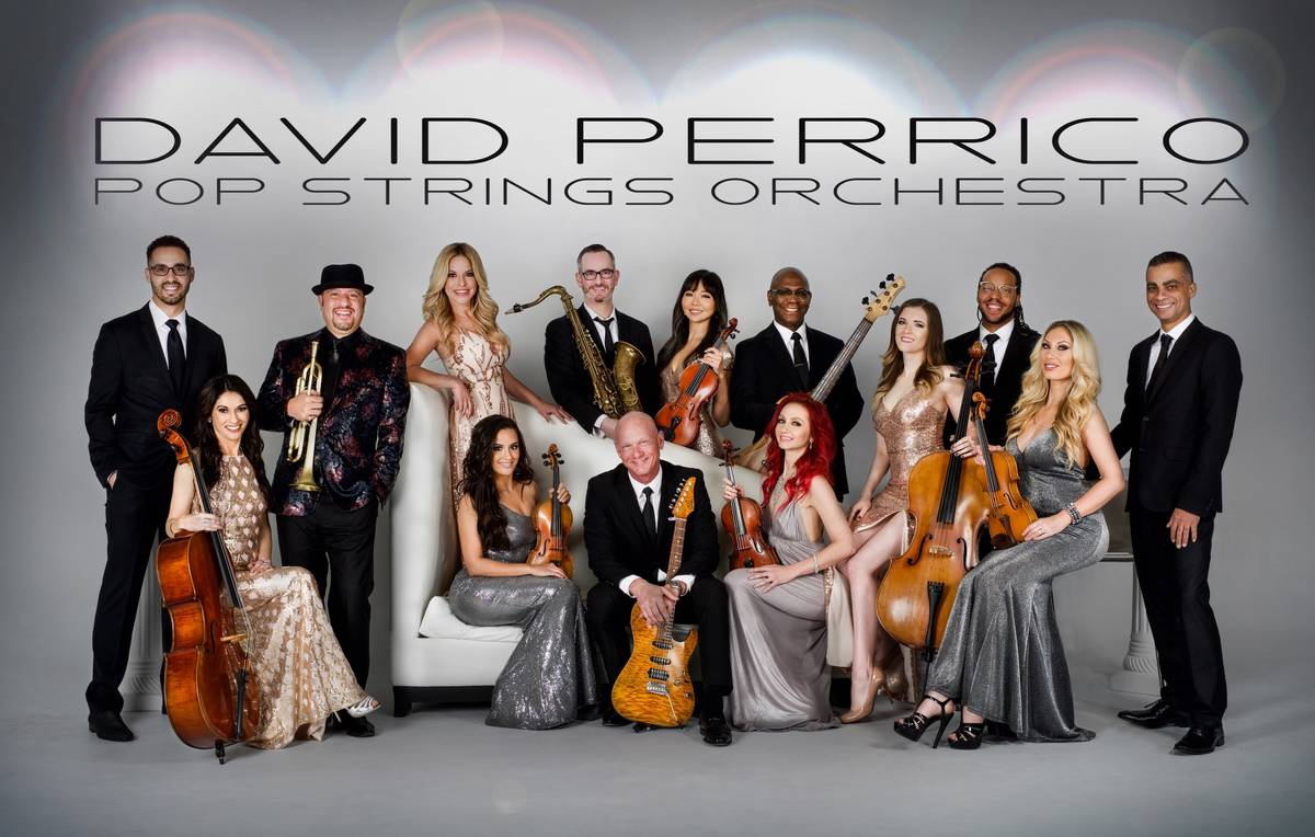 A promotional image of David Perrico Pop Strings Orchestra, which is performing a live-stream c ...