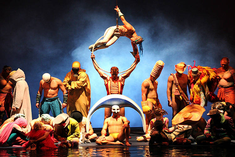 """The cast of Cirque du Soleil's """"0"""" perform during a 10th anniversary show at the Bellagio in th ..."""