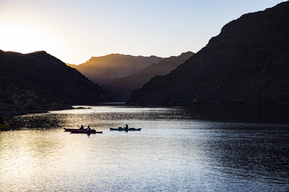 From Hoover Dam, paddlers may follow the Black Canyon Water Trail downstream for 12 miles. An e ...