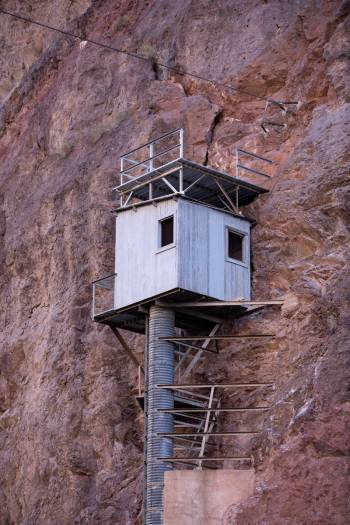 The gauging station on the wall of the Colorado River was used to monitor water flow in the 193 ...