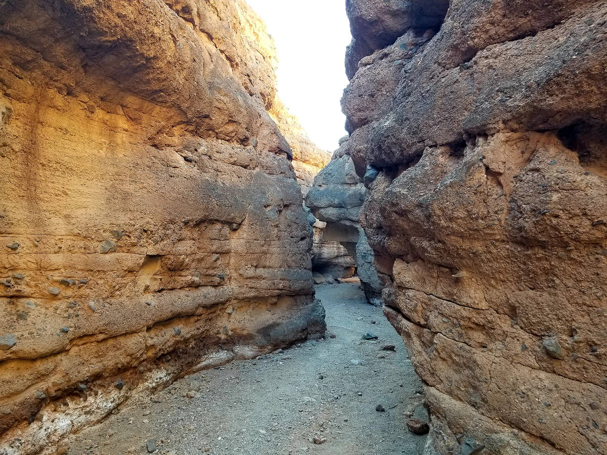 Light and shadows are playful in the slot canyon found after a short hike up the wash along Owl ...