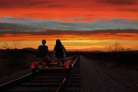 Rail Explorers vehicles ply a 4-mile track from the Nevada Railroad Museum in Boulder City to t ...