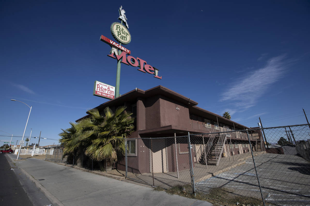 The property at 110 N. 13th St., owned by late Tony Hsieh, in Las Vegas, on Friday, Feb. 19, 20 ...