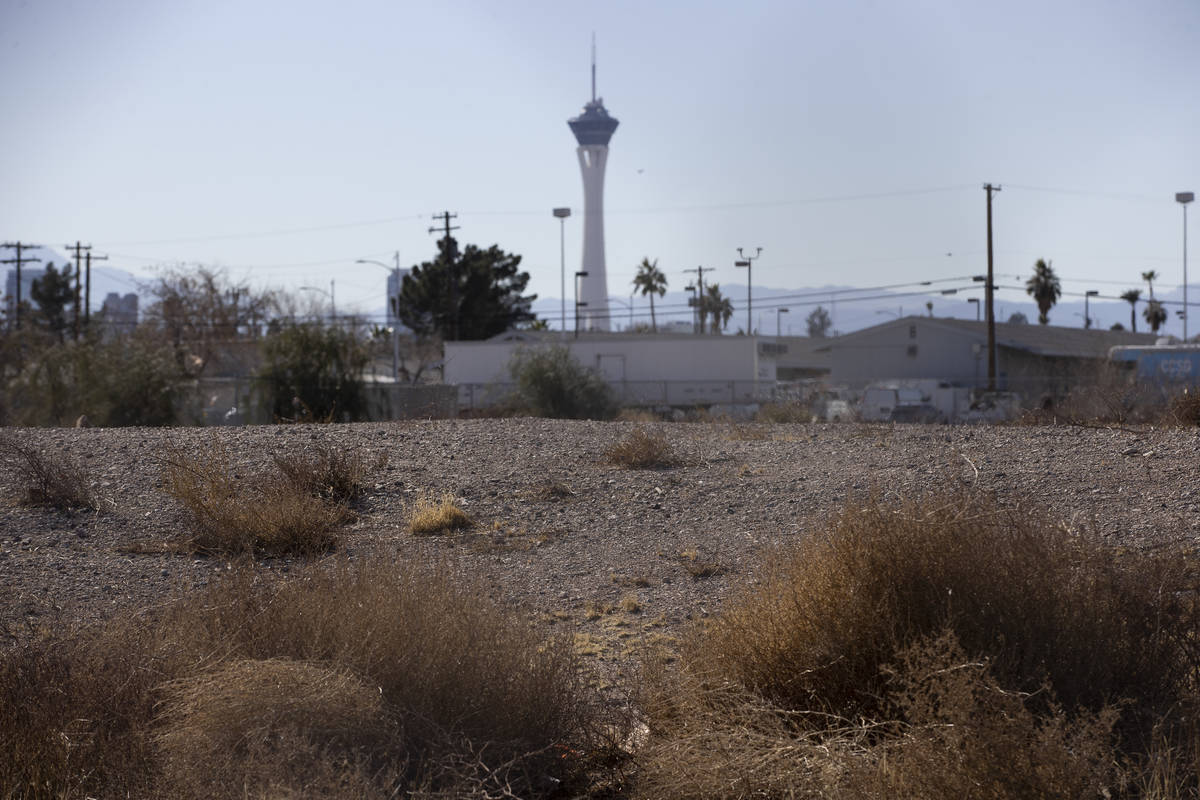 An empty lot at 129 N. 28th St., owned by late Tony Hsieh, in Las Vegas, on Friday, Feb. 19, 20 ...