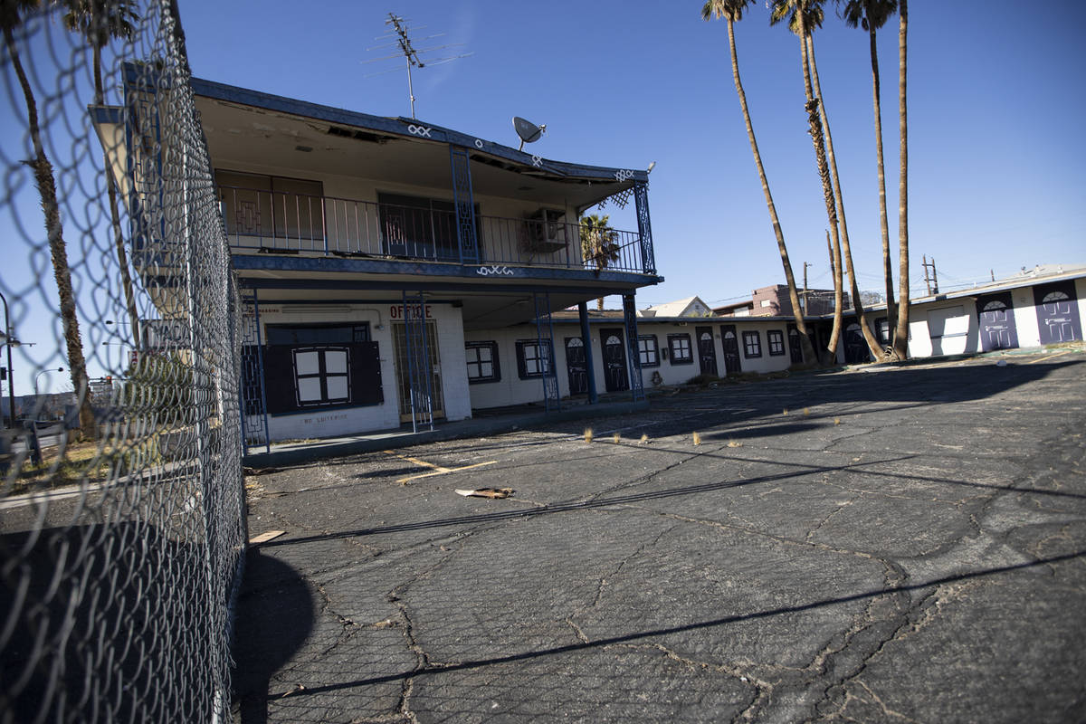 The property at 1313 E. Fremont St., owned by late Tony Hsieh, in Las Vegas, on Friday, Feb. 19 ...