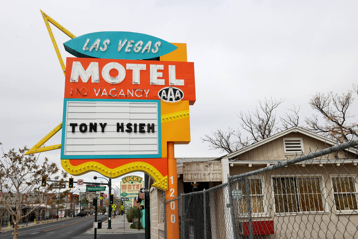 A closed hotel at 1200 E. Fremont St. in downtown Las Vegas owned by Tony Hsieh photographed Th ...