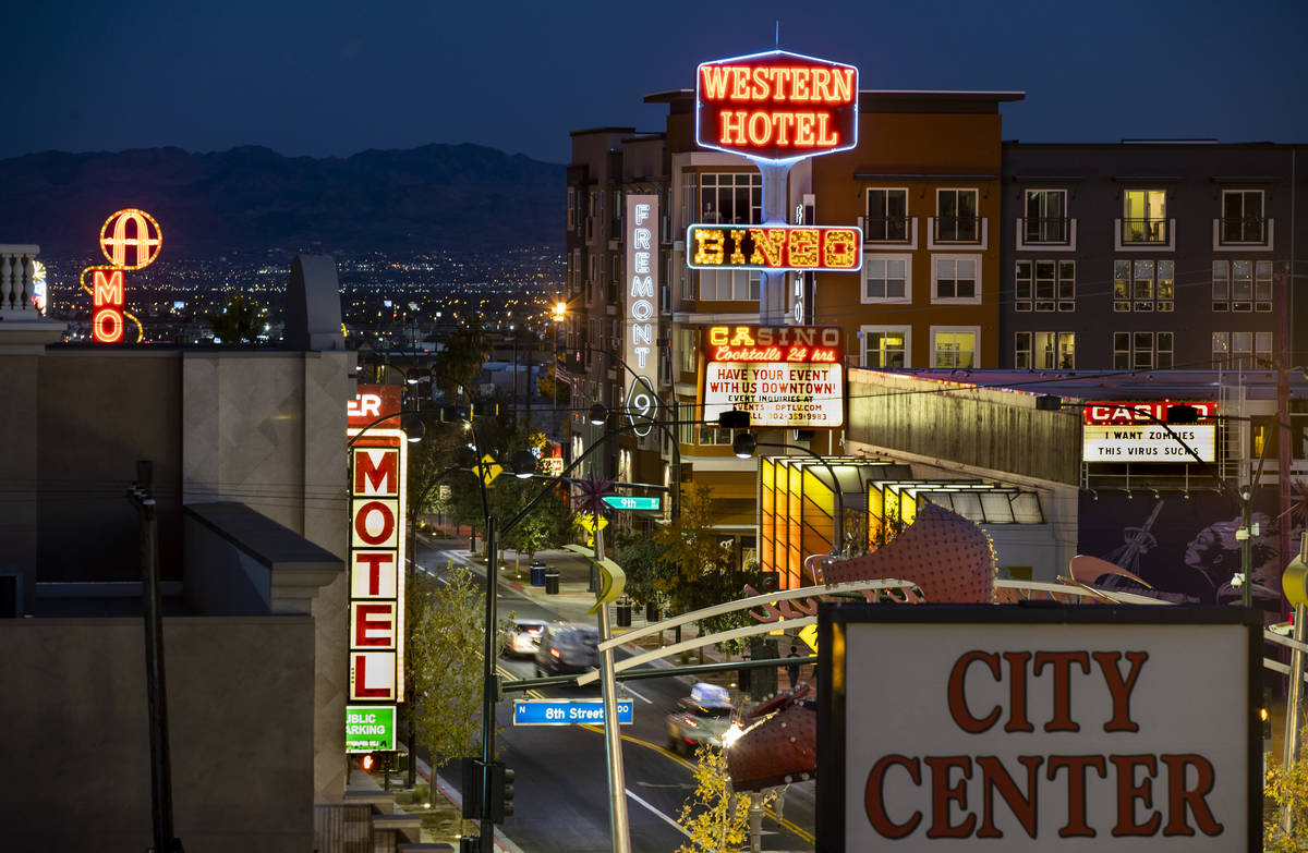 The Fremont9 apartment complex, rear, along Fremont Street, is a legacy of Tony Hsieh and his D ...