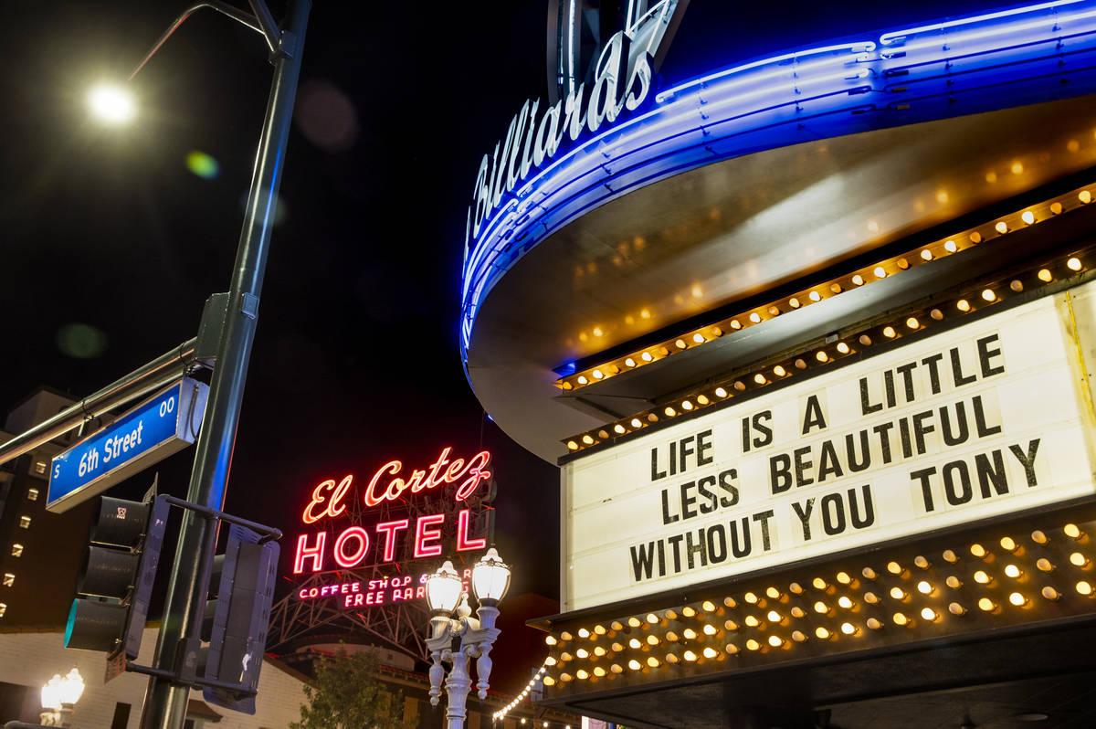 A tribute to Tony Hsieh on Dec. 1, 2020, in downtown Las Vegas. (L.E. Baskow/Las Vegas Review-J ...