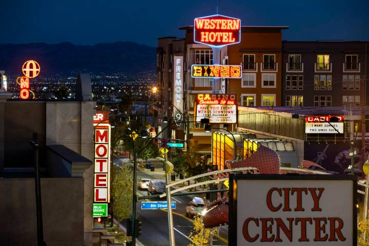 The Fremont9 apartment complex, rear, along Fremont Street is a legacy of Tony Hsieh and his Do ...