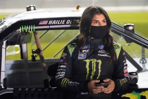 Hailie Deegan on pit road before the NASCAR 250 truck auto race at Daytona International Speedw ...