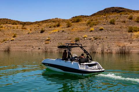 A boat passes by at the Callville Bay Marina at Lake Mead National Recreation Area on Wednesday ...