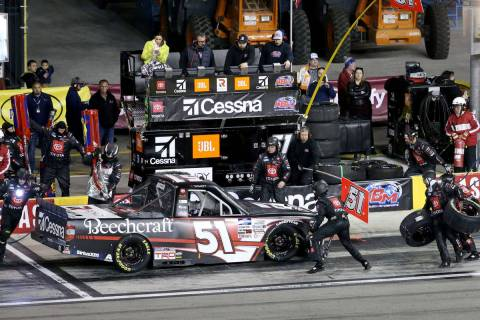 Kyle Busch (51) pits during the Strat 200 NASCAR Truck Series race at Las Vegas Motor Speedway ...