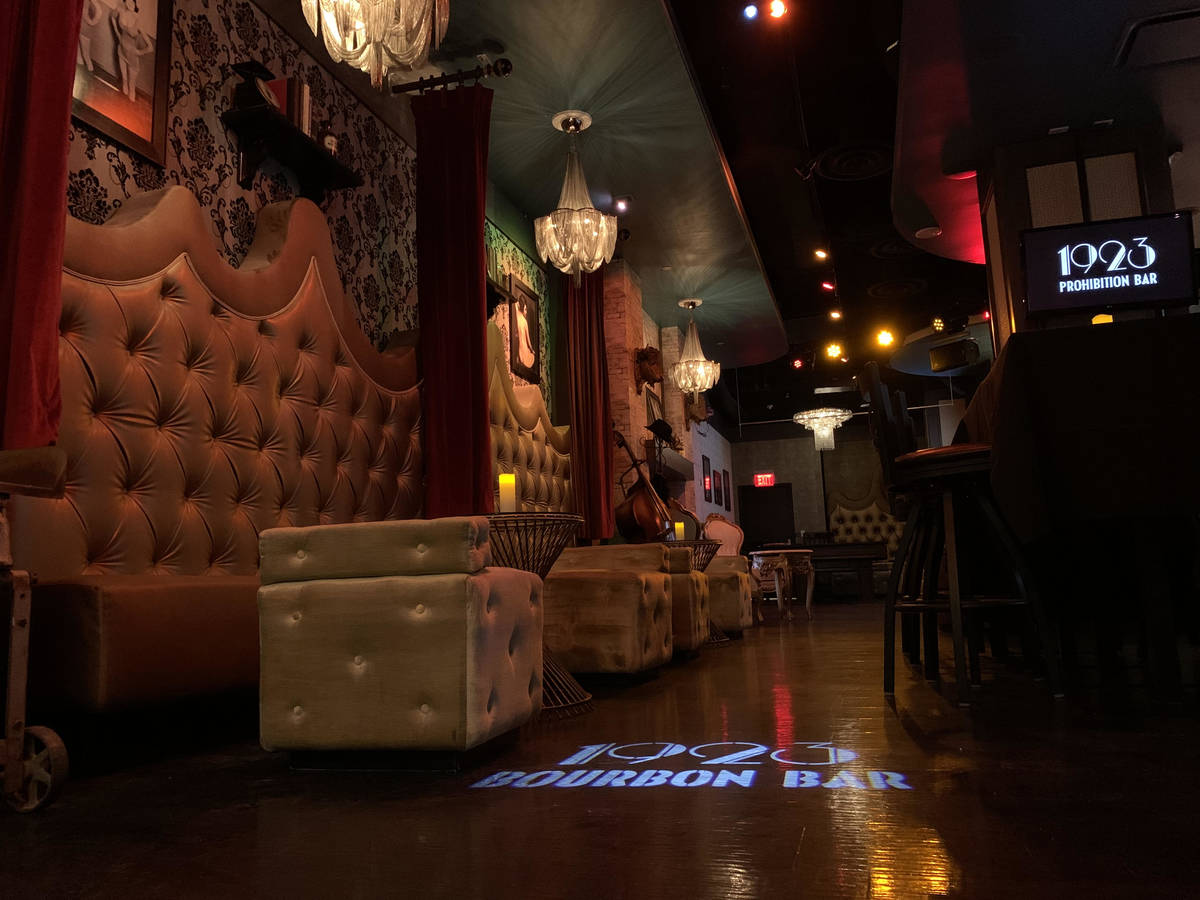 A look at 1923 Prohibition Bar at Mandalay Bay, which opens for live entertainment on Saturday, ...