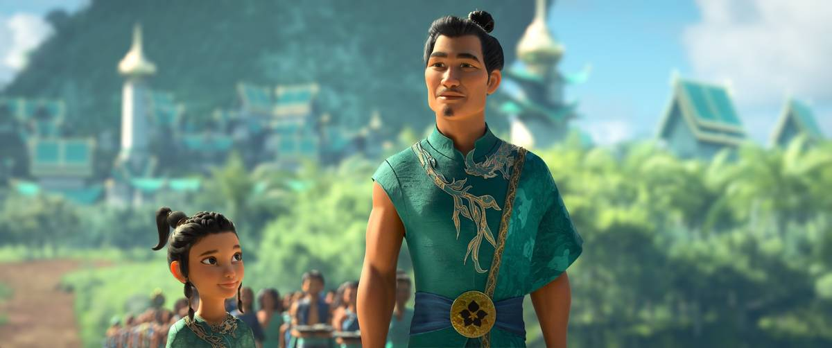 Animated character young Raya, left, appears with her father Benja, voiced by Daniel Dae Kim i ...