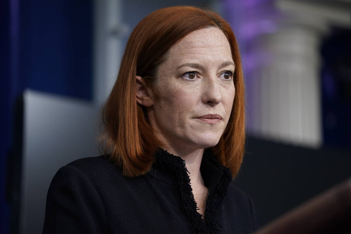 White House press secretary Jen Psaki speaks during a press briefing at the White House, Thursd ...