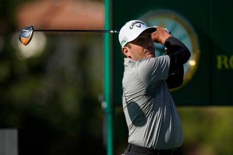 Francesco Molinari, of Italy, tees off on the 17th hole during the first round of the Genesis I ...