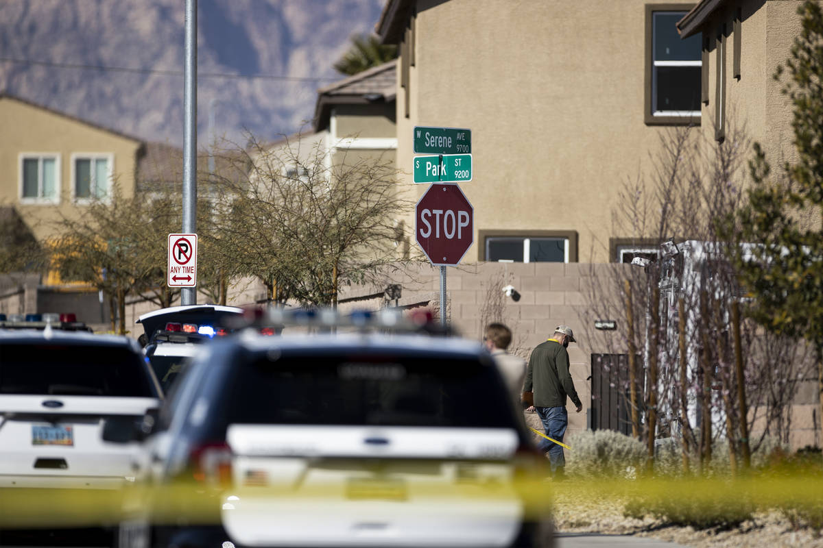 Las Vegas police investigate an apparent murder-suicide inside of a home at the 9200 block of S ...