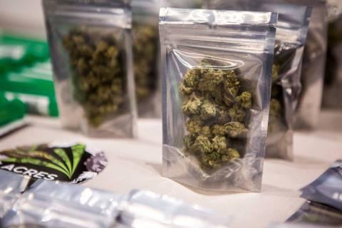 This Marijuana displayed for sale at Acres Dispensary in Las Vegas. (Las Vegas Review-Journal, ...