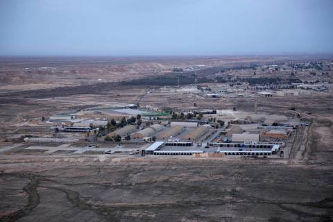 FILE - This Dec. 29, 2019, aerial file photo taken from a helicopter shows Ain al-Asad air bas ...