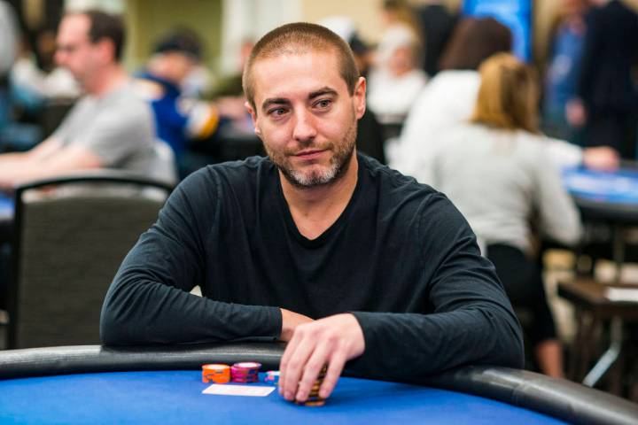 Chance Kornuth, shown in Los Angeles on Feb. 29, 2020, is the chip leader for the Gardens Poker ...
