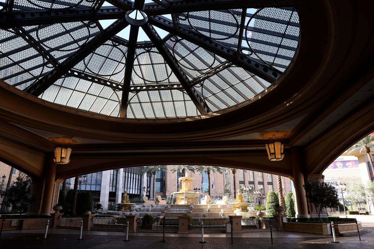 The porte cochere at the Palazzo on the Strip in Las Vegas Wednesday, March 3, 2021. Las Vegas ...