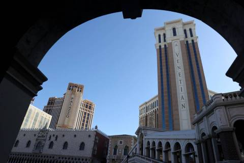 The Venetian and Palazzo on the Strip in Las Vegas Wednesday, March 3, 2021. Las Vegas Sands Co ...