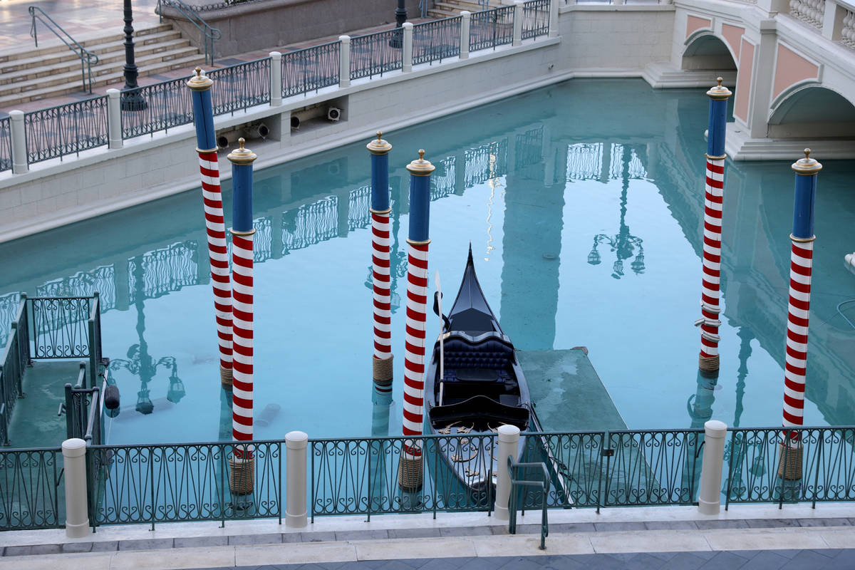 A gondola at The Venetian on the Strip in Las Vegas Wednesday, March 3, 2021. Las Vegas Sands C ...
