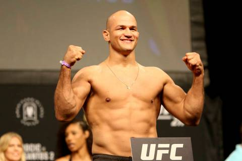 Junior Dos Santos poses for photographers during a weigh-in before UFC 211 on Friday, May 12, 2 ...