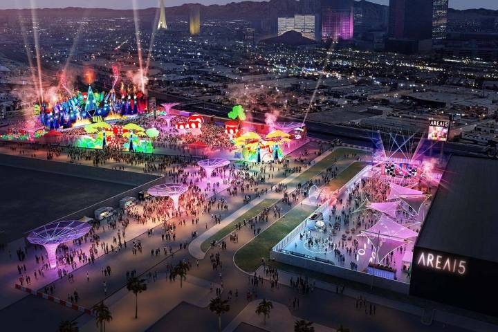 The Grounds, a four-acre project at Area15, is expected to accommodate up to 20,000 guests for ...