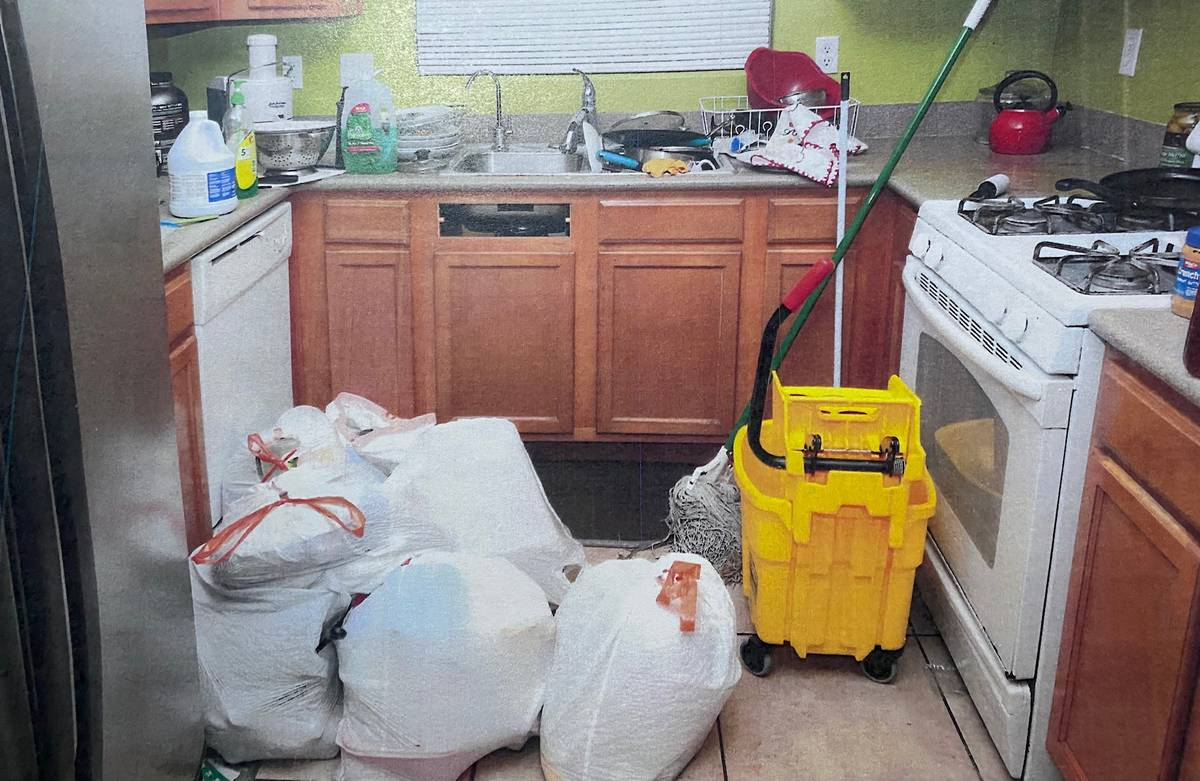 An evidence photo shows cleaning supplies inside the home of Jose Rangel and his son Erick Rang ...