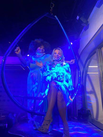 Skye Dee MIles and Savannah Lynx are shown at Miles' new aerial rig at Rose. Rabbit. Lie. at th ...