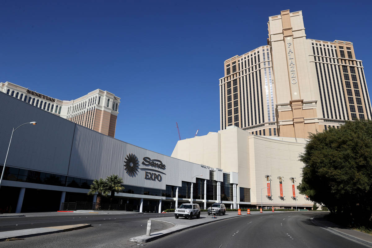 The Venetian, Sands Expo and Palazzo on the Strip in Las Vegas Wednesday, March 3, 2021. Las Ve ...