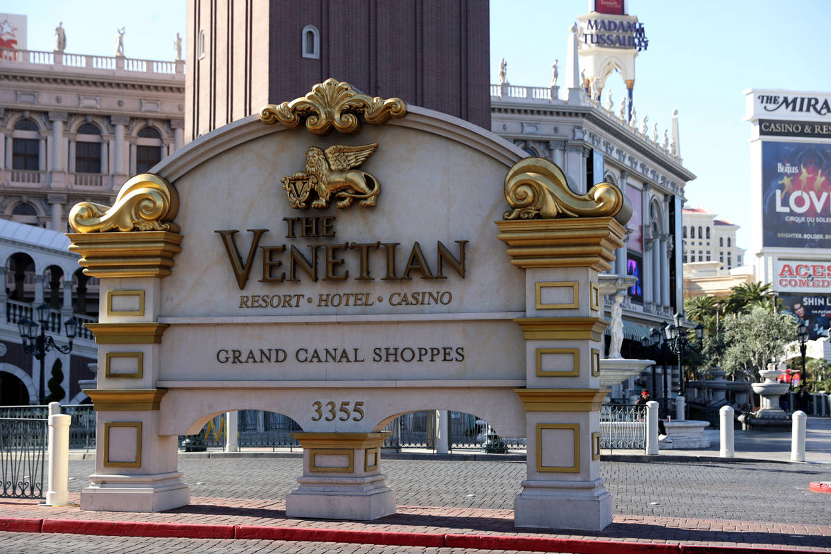 The Venetian on the Strip in Las Vegas Wednesday, March 3, 2021. Las Vegas Sands Corp. has sold ...