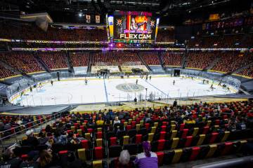 Fans are seen during the third period of the first Golden Knights game allowing spectators sin ...