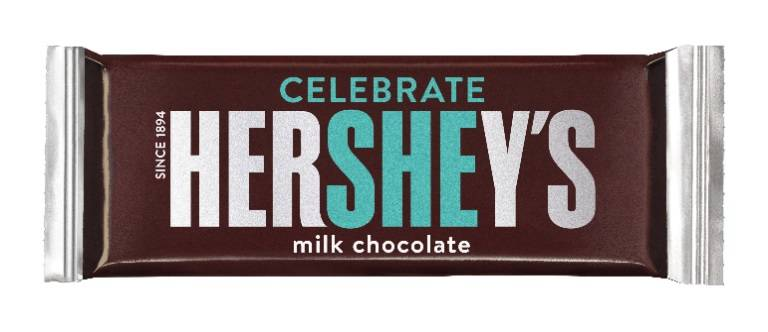 "Hershey's limited-edition ""Celebrate SHE"" bar. (Hershey's)"