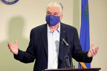 Nevada Gov. Steve Sisolak speaks during a news conference at the Sawyer Building in Las Vegas i ...