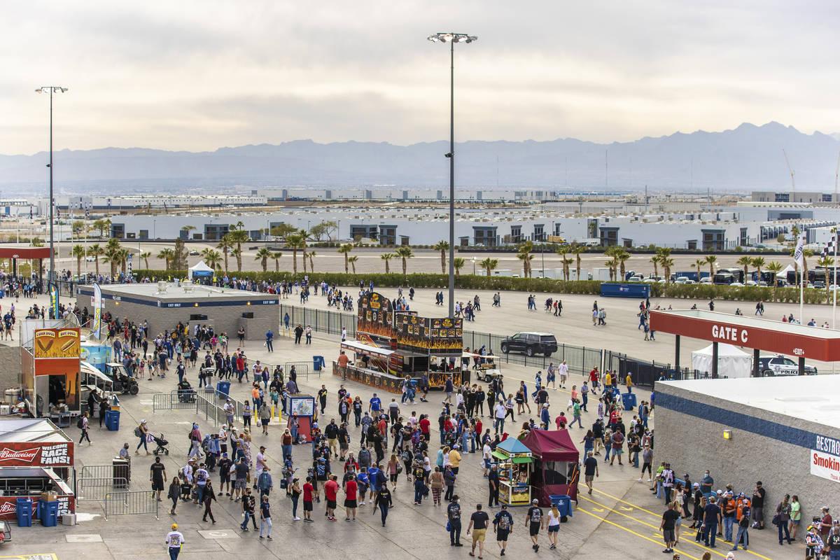 Fans exit Las Vegas Motor Speedway at the conclusion of the NASCAR Cup Series Pennzoil 400 au ...