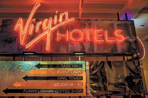 Directional signage within the reimagined and re-conceptualized casino resort Virgin Hotels Las ...