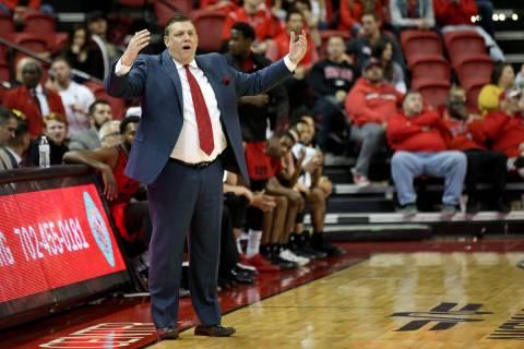 Southern Utah Thunderbirds head coach Todd Simon in the second half of their NCAA basketball ga ...