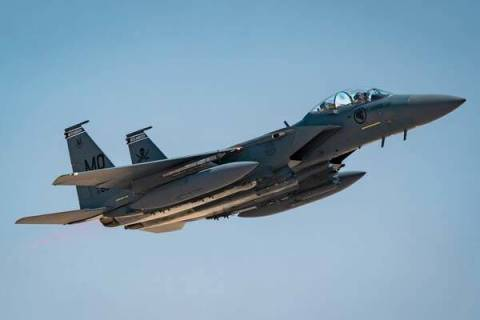 An F-15SG Strike Eagle assigned to the 428th Fighter Squadron at Mountain Home Air Force Base, ...