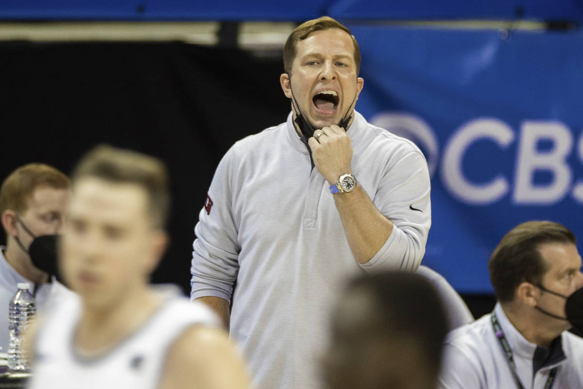 UNLV Rebels head coach T.J. Otzelberger calls a play in the first half during the Mountain West ...