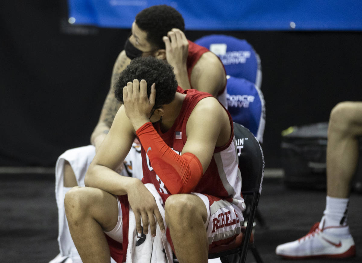 UNLV Rebels forward Devin Tillis (30) hits on the bench dejected in the second half during the ...
