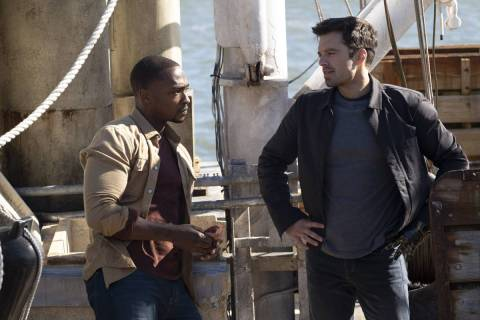 """Anthony Mackie, left, and Sebastian Stan star in """"The Falcon and the Winter Soldier."""" (Chuck Zl ..."""