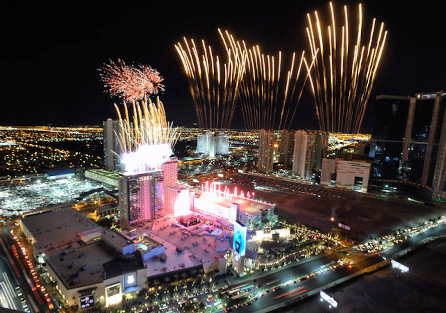 Fireworks explode over the SLS Las Vegas during its grand opening celebration on Saturday, Aug. ...